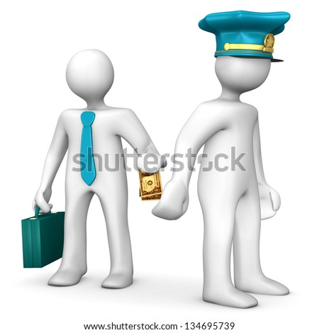 White cartoon with police cap and money in the hand. - stock photo