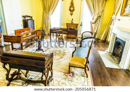 WHITE CASTLE, USA   JULY 14, 2013: Rooms Inside Famous Nottoway Plantation  In