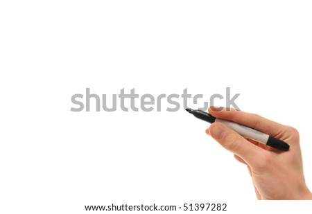 White Caucasian hand holding a black marker isolated on pure white background copyspace with room for your text, image, or design - stock photo