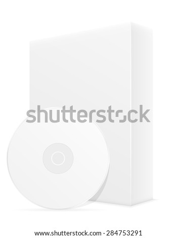 white cd and dvd bisk box packing illustration isolated on background