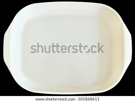 White Ceramic Baking Pan Isolated On Black Background