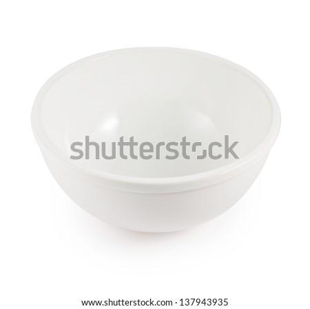 White ceramic bowl isolated over white background - stock photo