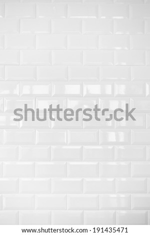 White ceramic brick tile wall,background - stock photo