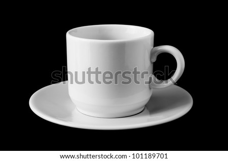 White Ceramic Coffee Cup isolated on black background - stock photo