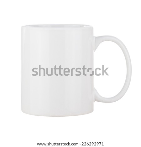 White Ceramic Coffee Cup Isolated on White Background. Side View. - stock photo