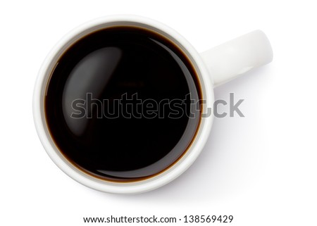 White ceramic coffee mug. Top view. Isolated on a white. - stock photo