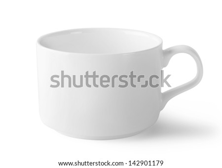 White ceramic cup isolated on white background