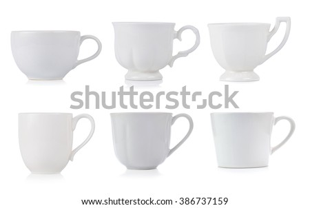 White ceramic cup isolated on white background.