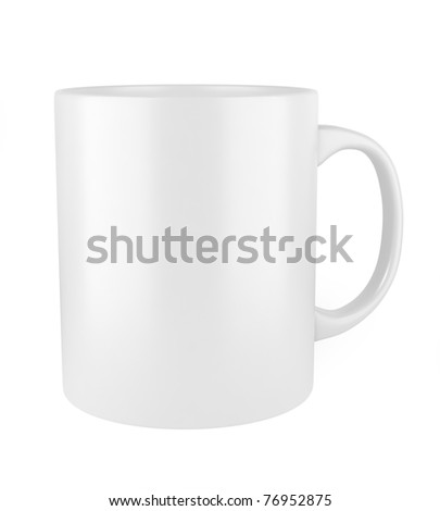 white ceramic cup isolated on white background - stock photo