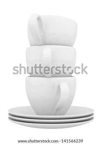 White ceramic dishes and cups, three objects on white background - stock photo
