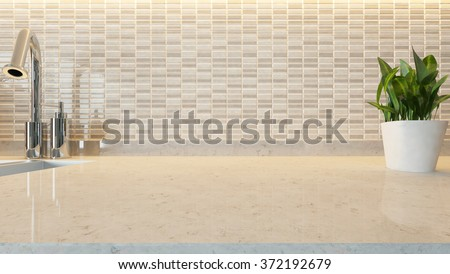white ceramic modern kitchen design background with kitchen marble desk space for your design and montage product 3d rendering by sedat seven - stock photo