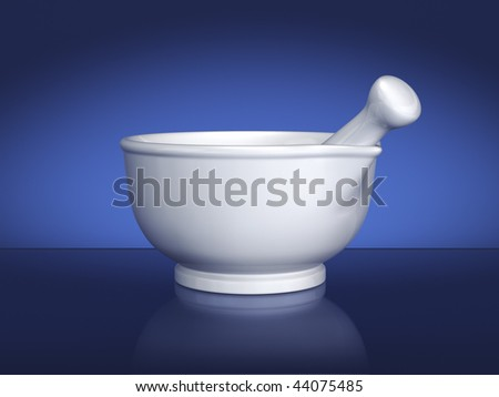 White ceramic mortar and pestle on blue background. Includes clipping path. - stock photo