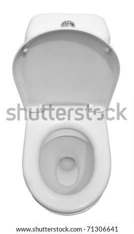 White ceramic toilet isolated on a white background. Clipping path. - stock photo