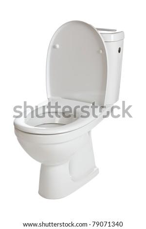 white ceramic toilet on white background - stock photo