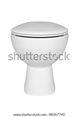 White ceramic toilet on white background. - stock photo