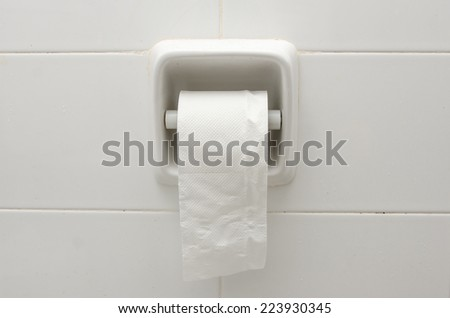 White ceramic toilet paper holder - stock photo