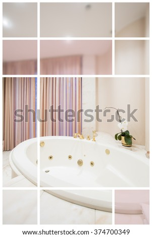 White ceramic washbasin and color squares around