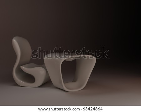 White Chair Table Future Minimalism Design Stock Illustration ...