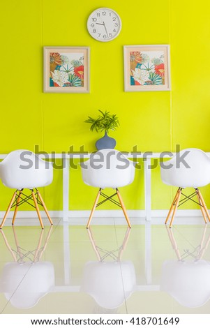 white chair in modern design - stock photo