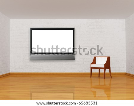 white chair with lcd tv in minimalist interior