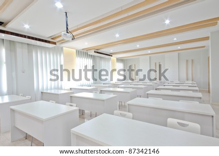 White chairs and white table. - stock photo