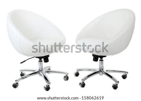 White chairs isolated on white - stock photo