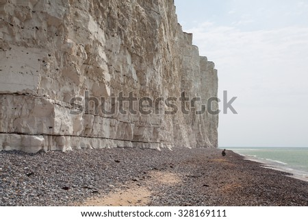 White chalk cliffs near the Beachy Head, Eastbourne, East Sussex, England - stock photo