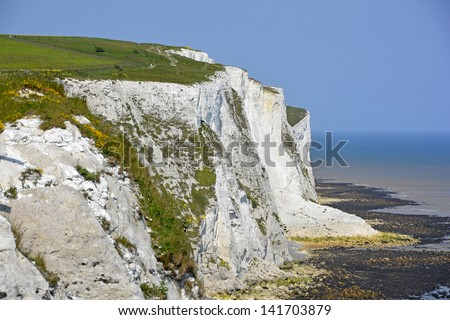 White chalk cliffs of Dover & the English Channel Kent England UK - stock photo