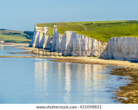 White chalk cliffs, Seven Sisters National Park. Eastbourne, East Sussex, England