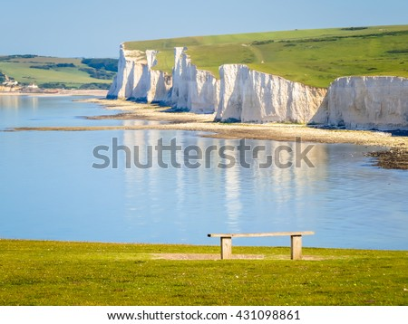 White chalk cliffs, Seven Sisters National Park. Eastbourne, East Sussex, England - stock photo