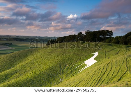 White chalk horse at Cherhill in Wiltshire , England