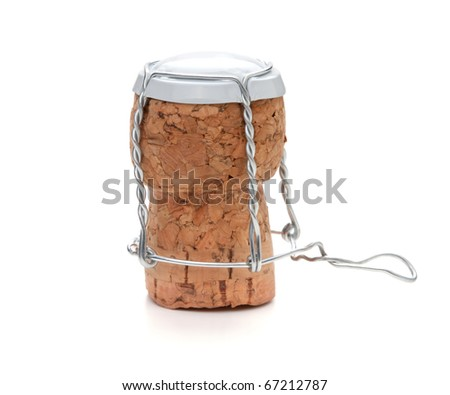 White champagne cork. Isolated on white background - stock photo
