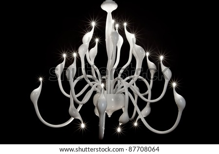 white chandelier isolated on black - stock photo