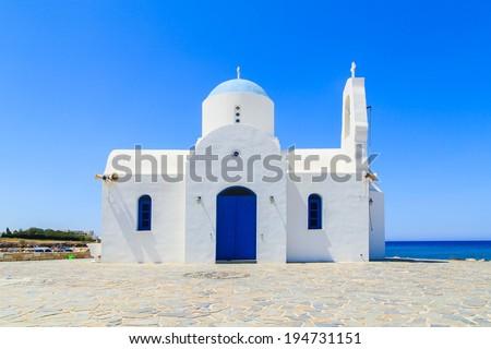 White chapel on a shore in Protaras, Cyprus - stock photo