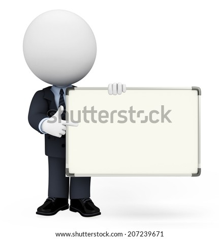 White character as a business man with display board