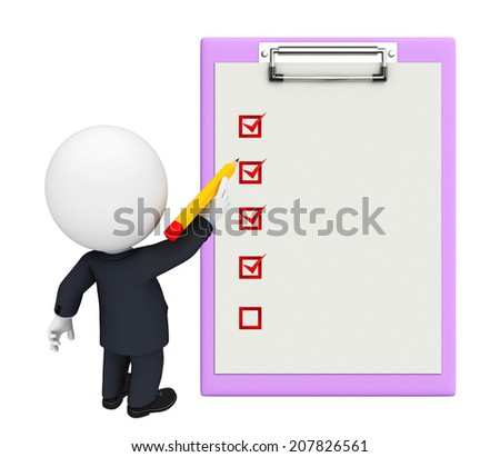 White character as a business man with notepad