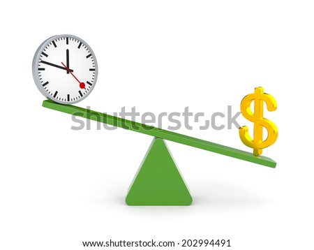 White character between time and money. Money outweighs - stock photo