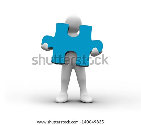 White character holding a blue jigsaw piece on white background