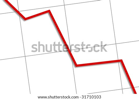 White chart with a red line going down. - stock photo