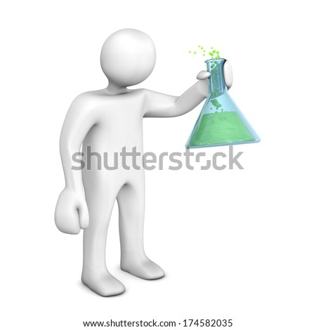 White chemist with test tube on the white background. - stock photo