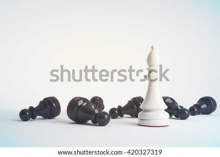 White chess bishop win vs black pawns. Business concept of leadership. 3d rendering. Toned image.