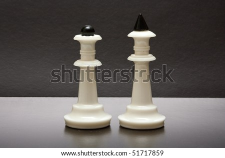 White chess in black background