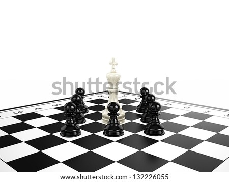 White chess king surrounded by black chess pawns on a chessboard, 3d render - stock photo