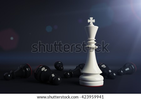 White chess king win vs black pawns. Business concept of leadership. Chess game over. 3d rendering. Toned image. - stock photo