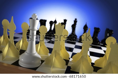 White chess king with team of paper figures against blacks - stock photo