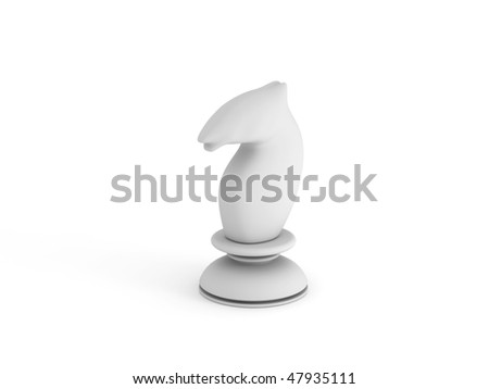 White chess knight isolated on white background. High quality 3d render.