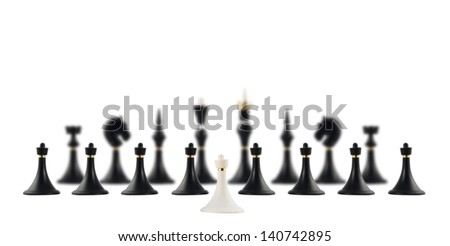 White chess pawn figure opposite to the black ones composition isolated over white background - stock photo