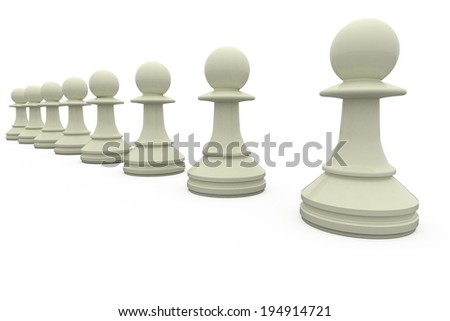 White chess pawns in a row on white background