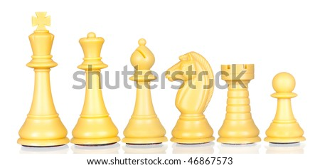 White chess pieces in order of decreasing isolated on white background