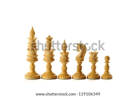 white chess pieces isolated on a white background